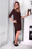 Замшевое платье с чокером для кормящих мам шоколадного цвета