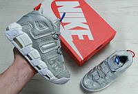 "Кросівки Nike Air More Uptempo ""Silver"". Живе фото (Репліка ААА+)"