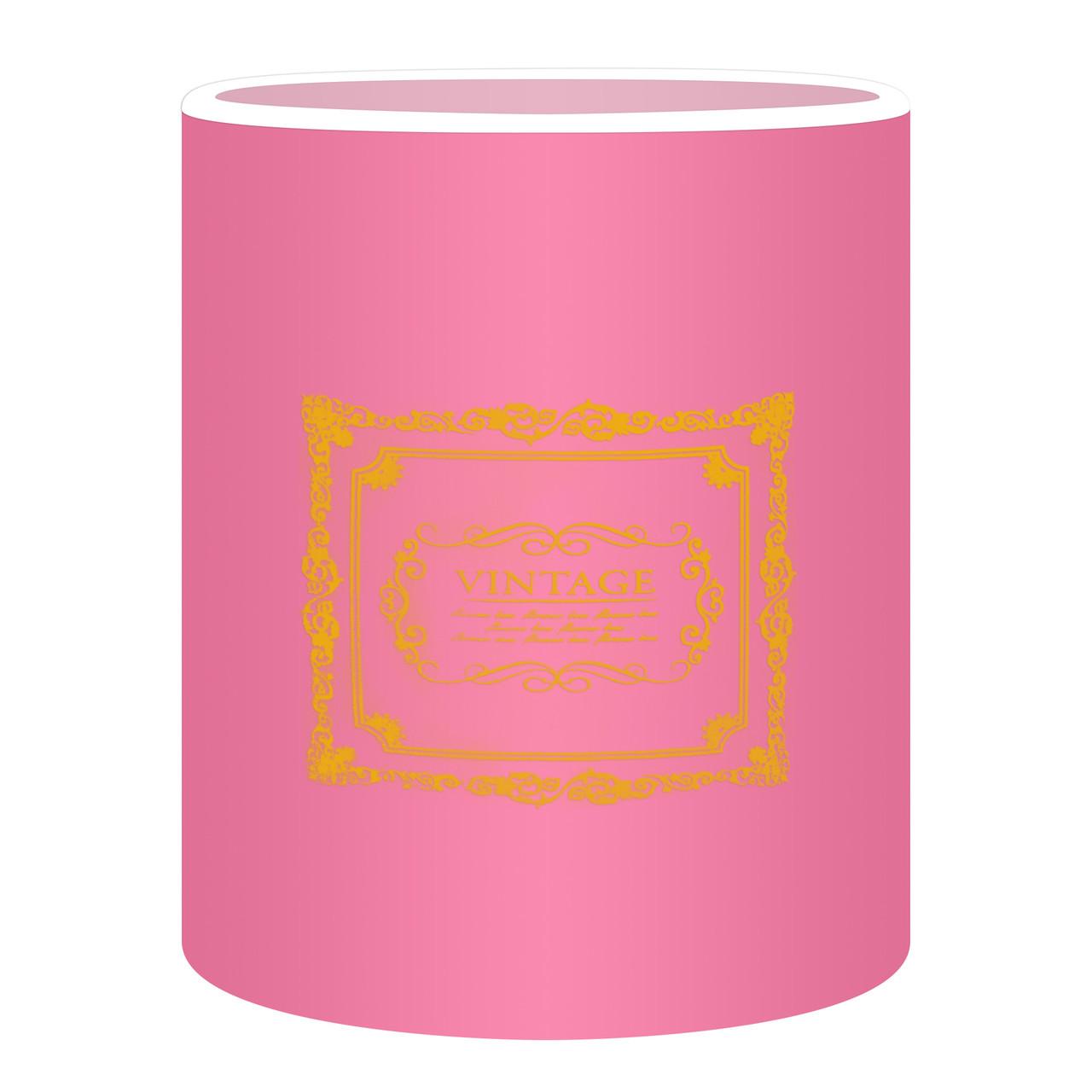 Коробка для цветов без крышки 15 х 14 см розовая