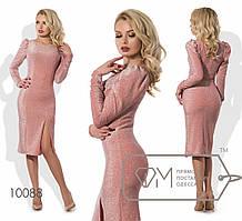 """Нарядное платье из люрекса с высоким разрезом """"Бажена"""" цв. Коралл, размер 46 10088 фм"""
