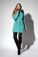 Зимнее женское молодежное пальто. Код К-108-58-18. Цвет бирюзовый.