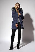 Зимнее женское молодежное пальто. Код К-108-58-18. Цвет темно синий.