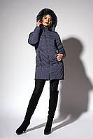 Зимнее женское молодежное пальто. Код К-108-58-18. Цвет чернильный.