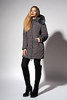 Зимнее женское молодежное пальто. Код К-108-58-18. Цвет графит.