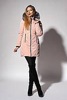 Зимнее женское молодежное пальто. Код К-108-58-18. Цвет пудровый.