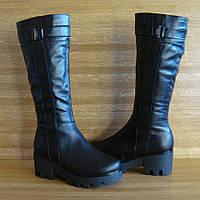 70821| Женские сапоги -зимние на высокой платформе. Черные из натуральной кожи 36