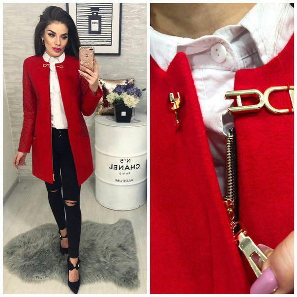 Пальто кашемировое, модель 799, цвет - красный