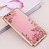 Чехол с цветами и стразами Xiaomi Mi 6 (Gold)