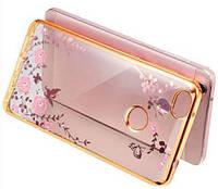 Чехол с цветами и стразами Xiaomi Mi Max (Gold)