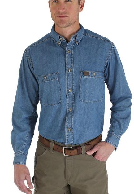 97770627c97 Джинсовая рубашка Wrangler Work Shirt - Antique - Интернет-магазин