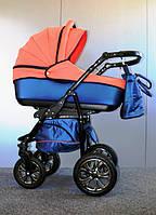 Детская универсальная коляска 2 в 1 Glory (Глори), Ajax Group, синий+лосось (58/22)