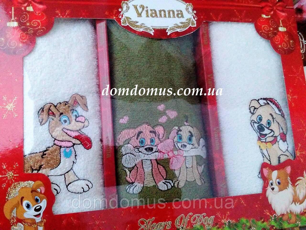 """Кухонные махровые полотенца 40*60 Vianna """"Собачка"""" 3 шт, Турция"""