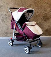 Детская прогулочная коляска Baby car, Trans Baby, бордовый+сталь