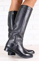 Сапоги женские демисезонные кожаные чёрные