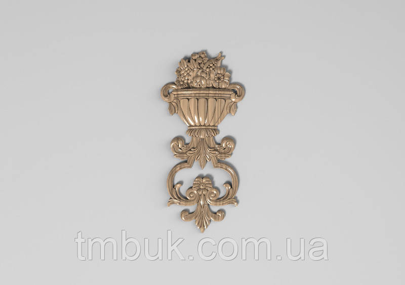 Вертикальный резной декор 36 Ваза с цветами - 120х260 мм