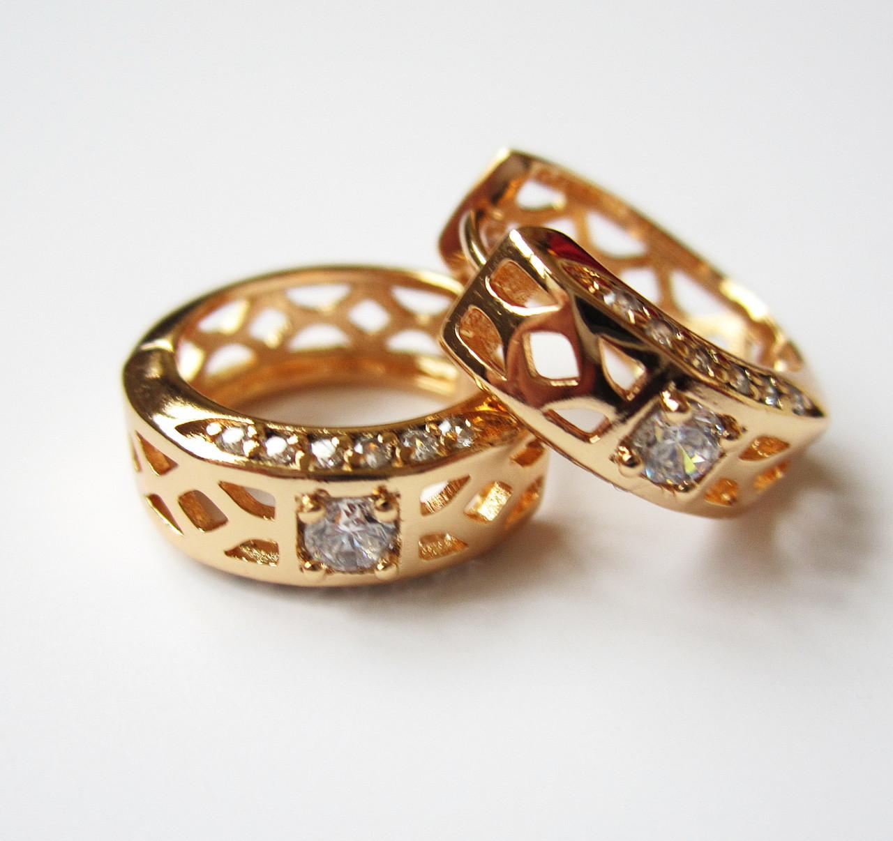 Серьги Xuping круглые узор и с камнями