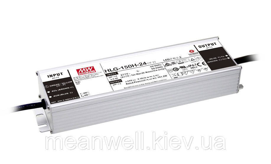 HLG-150H-54A  Блок питания Mean Well 151,2 вт, 2,8А, 49 ~ 58V в  IP67