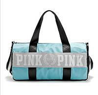 Сумка спортивная, дорожная текстильная бирюзовая Victoria's Secret Pink, фото 1
