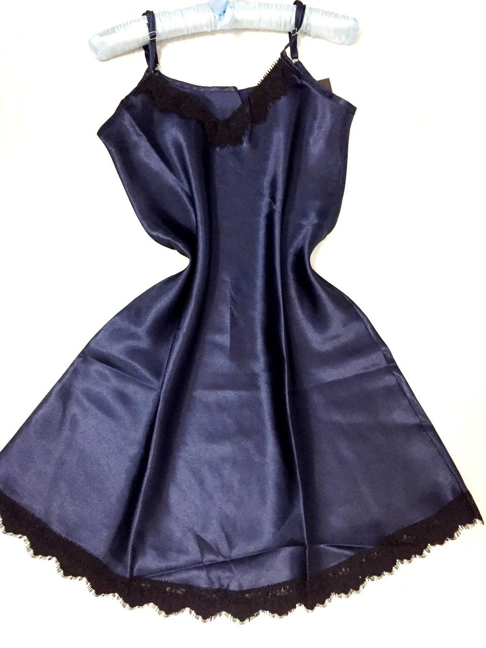 Женское белье , пеньюар из атласа с черным кружевом