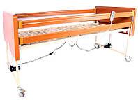 Комплект OSD-91: Кровать деревянная с электромотором на колесах, с перилами и гусем, регулируемая высота 30-70см, металлический каркас (4секции) и