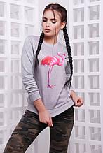Свитшот Cotton Фламинго светло серый