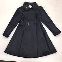 Пальто черное из неопрена Monnalisa