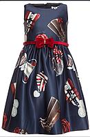Платье синее с рисунком лошади Monnalisa