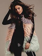 Ультрамодная женская жилетка -мех лама.
