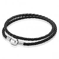 Двойной кожаный браслет с застежкой из серебра  черный