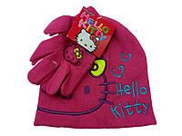 Малиновая шапка+перчатки HELLO KITTY
