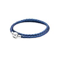 Двойной кожаный браслет с застежкой из серебра  синий