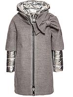 Пальто двойное серое, серебро на змейке Monnalisa