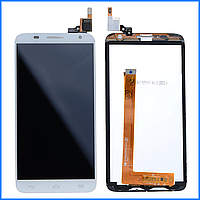 Дисплей (экран) для Alcatel OT 6050Y One Touch Idol 2S, 6050D с тачскрином в сборе, цвет белый