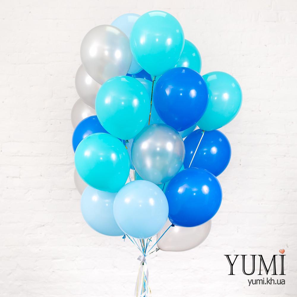 Связка для мужчины из 25 серебряных, голубых, синих шаров и 6 шаров аква блу