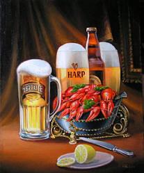 """Картина з бурштину """"Пиво з раками"""" купити в Харкові"""