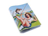 Кожаная женская обложка для паспорта -Девушка на рыбалке-