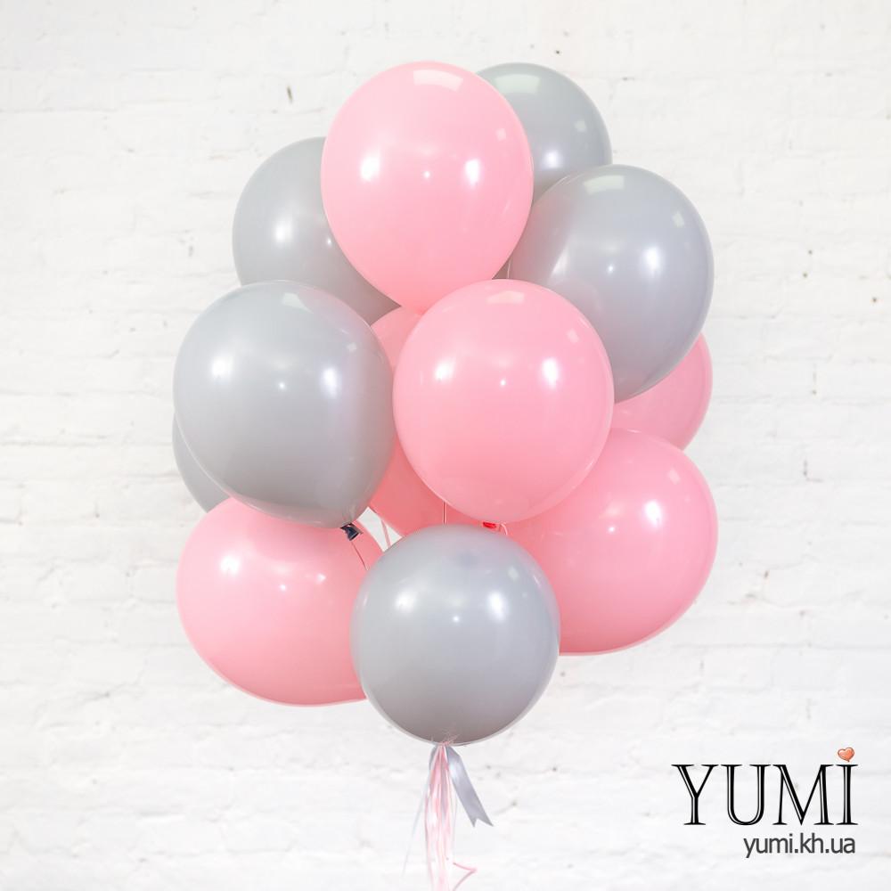 Нежная связка для девочки из 15 гелиевых шариков