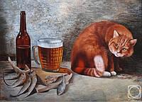 """Картина из янтаря настенная """" Пиво и Кот """" купить подарок"""