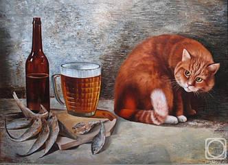 """Картина з бурштину настінна """"Пиво і Кіт"""" купити подарунок"""