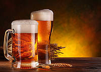 "Картина из янтаря "" Два бокала пива "" 30 * 40 см"