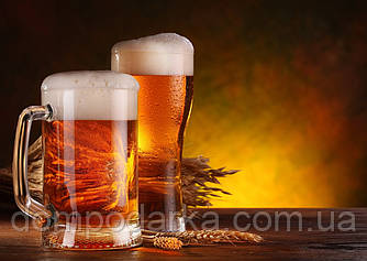 "Картина з бурштину ""Два келихи пива"" 30 * 40 см"