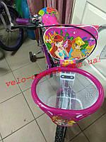 Детский двухколесный велосипед с корзинкой winx Азимут 18 дюймов