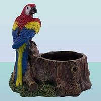 Подставка для цветов под вазон, цветочница Пень с попугаем
