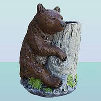 Подставка для цветов под вазон, цветочница Медведь с кадкой