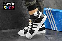Женские кроссовки adidas Superstar, черно-белые, материал - прес. кожа, подошва прошита