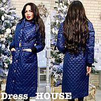 Женская зимняя куртка-пальто из стежки
