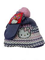 Теплый набор шапка с перчатками на девочку 48,50 см