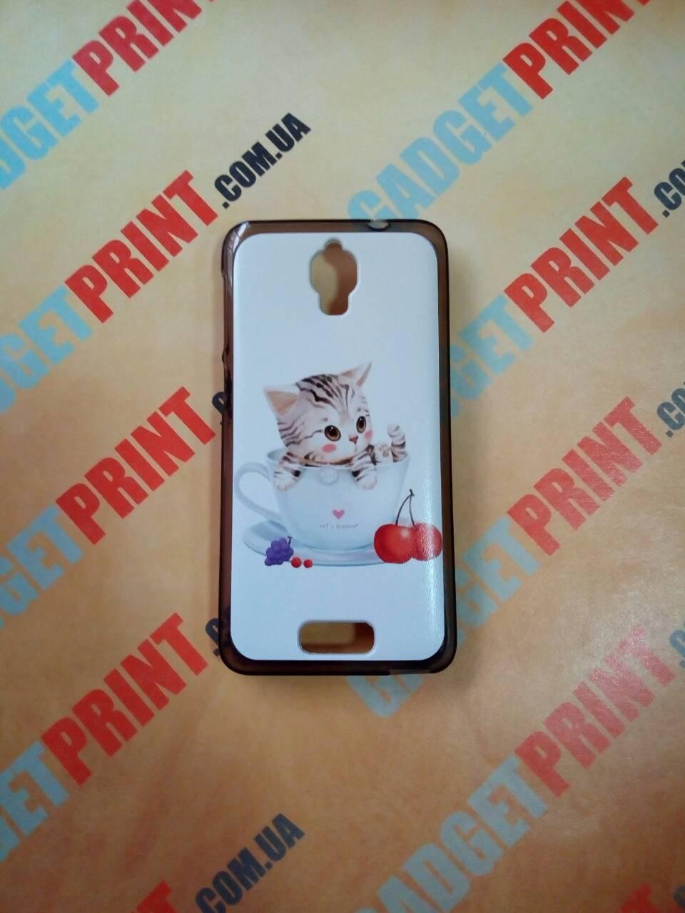 Чехол для lenovo s650 панель накладка с рисунком котик в чашке
