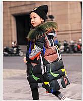 Очень крутой натуральный детский подростковый пуховик GXF. Детское зимнее пальто. Oversize.