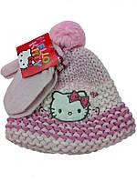 Детский набор теплая шапка с перчатками для девочки